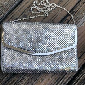 Vintage Silver Mesh Purse Handbag Bag Disco